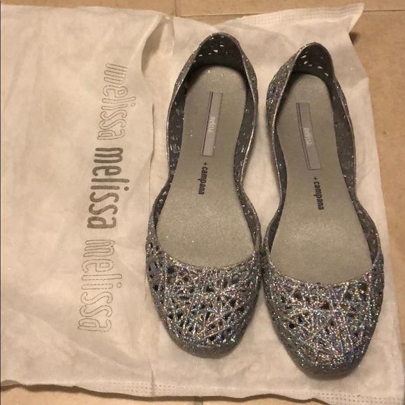 d5b0f06cfeb9 Brand new Melissa campana zig zag silver glitter